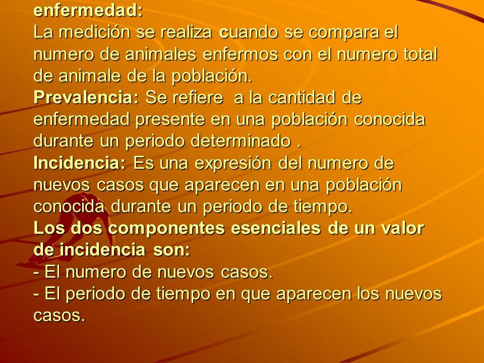 Formas de medir la presentación de la enfermedad: La medición se realiza cuando se compara el numero de animales enfermos con el numero total de animale de la población.