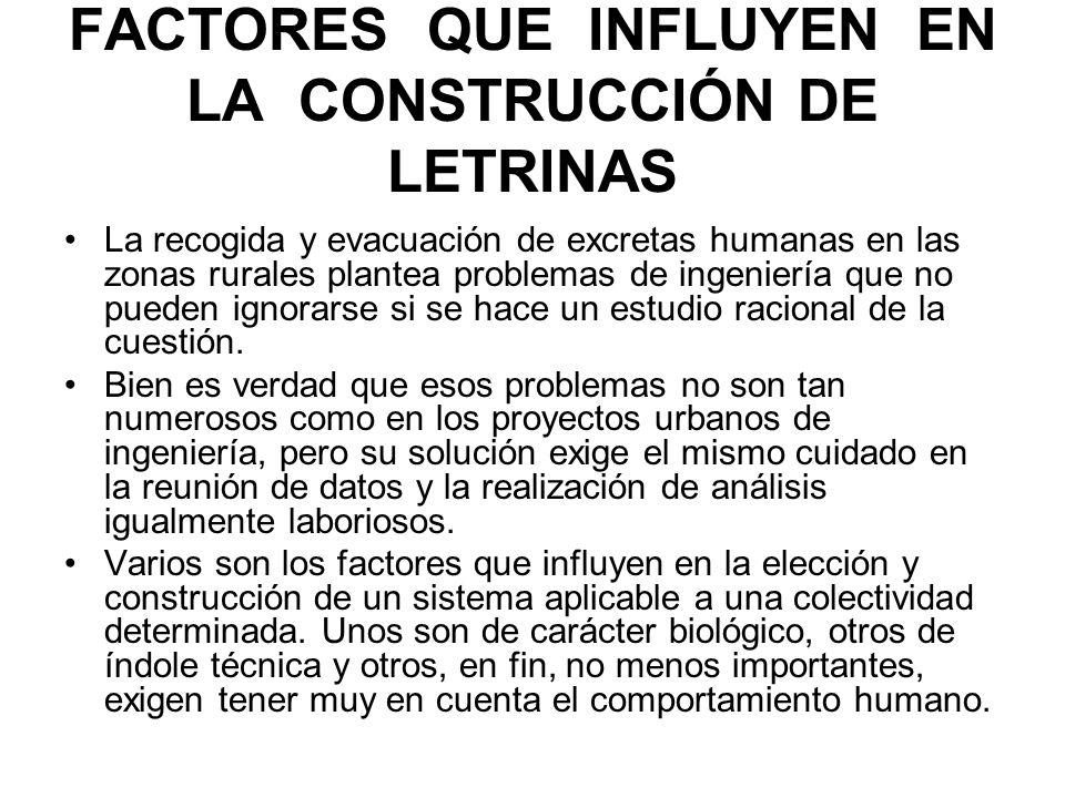 FACTORES QUE INFLUYEN EN LA CONSTRUCCIÓN DE LETRINAS