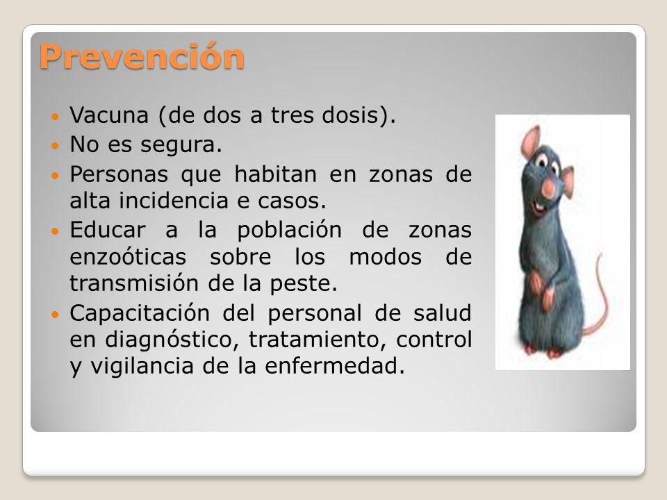 Prevención Vacuna (de dos a tres dosis). No es segura.