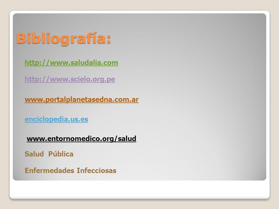 Bibliografía: http://www.saludalia.com http://www.scielo.org.pe