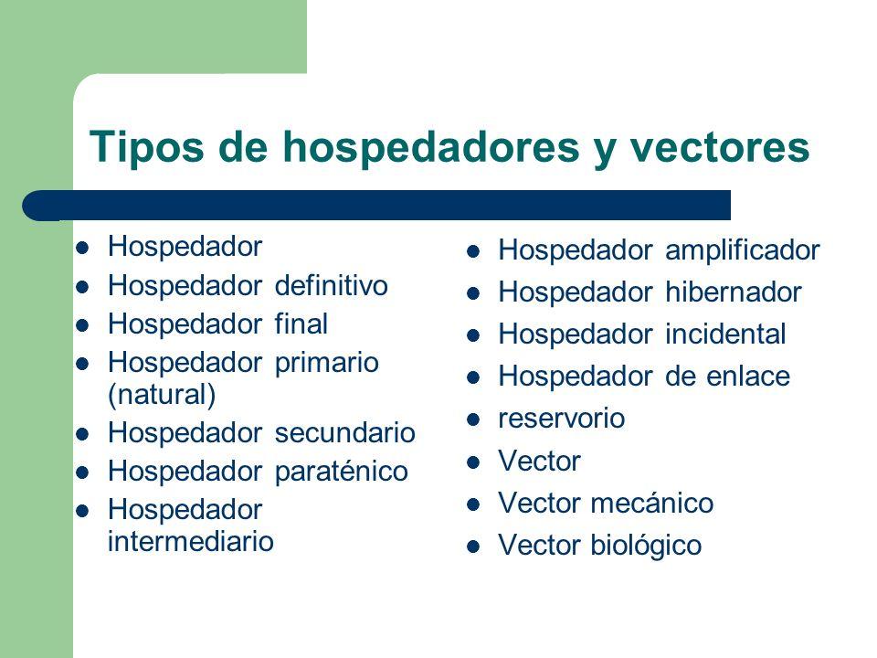 Tipos de hospedadores y vectores