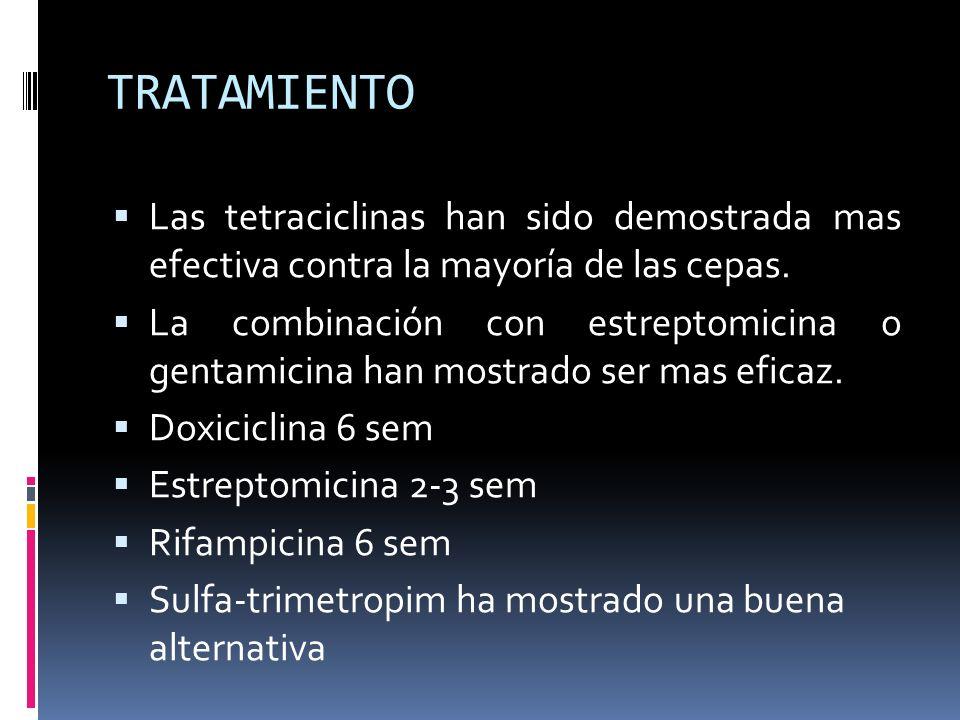 TRATAMIENTO Las tetraciclinas han sido demostrada mas efectiva contra la mayoría de las cepas.