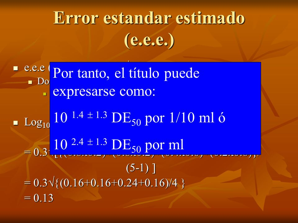 Error estandar estimado (e.e.e.)