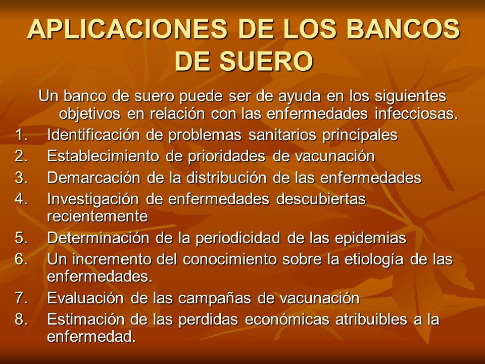APLICACIONES DE LOS BANCOS DE SUERO