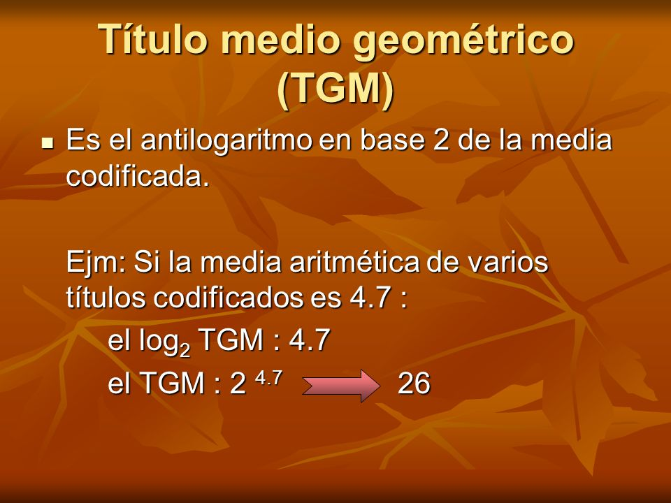 Título medio geométrico (TGM)