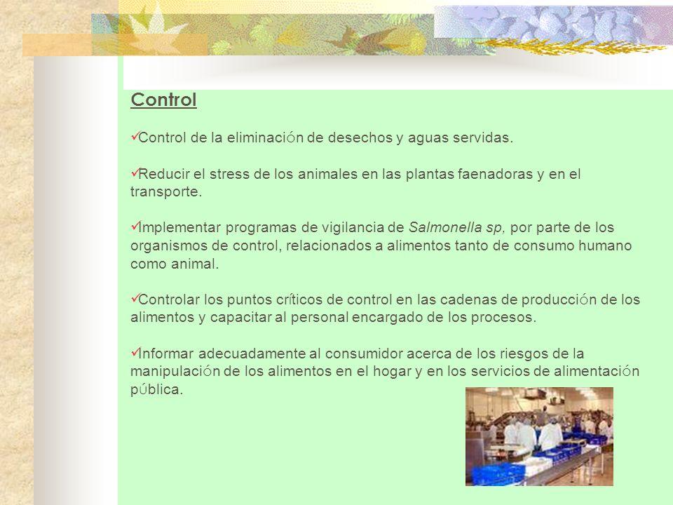 Control Control de la eliminación de desechos y aguas servidas.