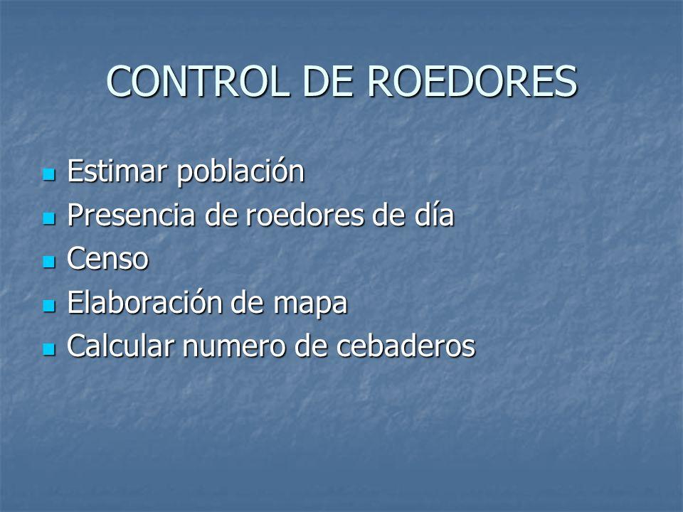 CONTROL DE ROEDORES Estimar población Presencia de roedores de día