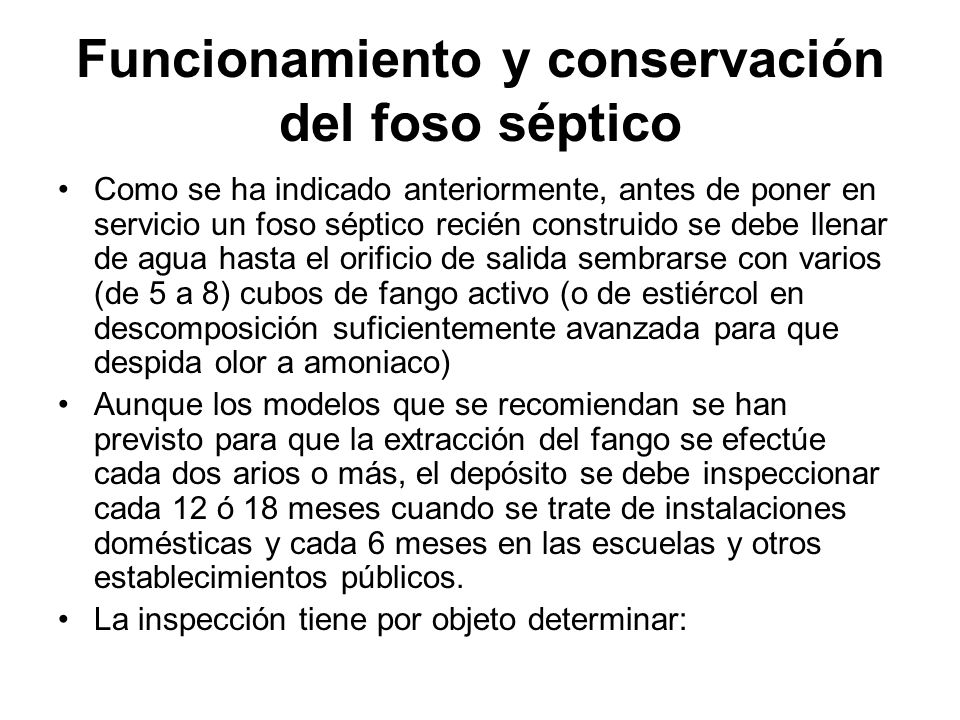 Funcionamiento y conservación del foso séptico