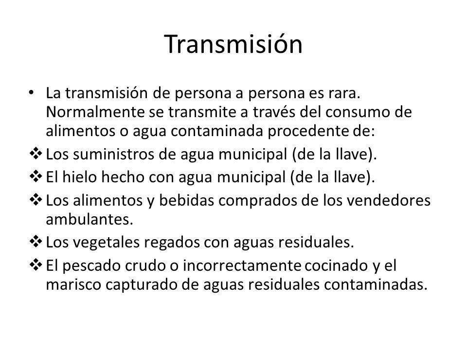 Transmisión La transmisión de persona a persona es rara. Normalmente se transmite a través del consumo de alimentos o agua contaminada procedente de: