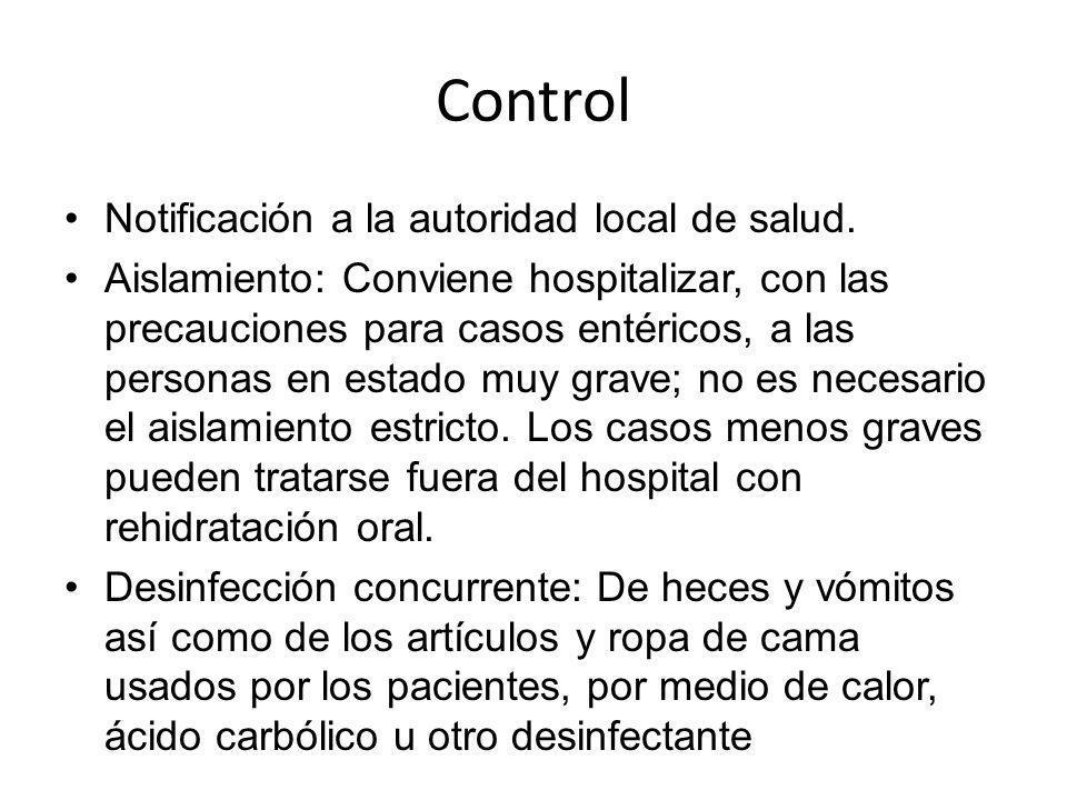 Control Notificación a la autoridad local de salud.