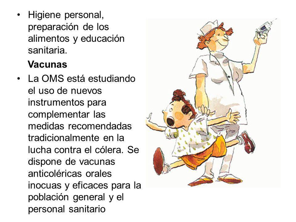Higiene personal, preparación de los alimentos y educación sanitaria.