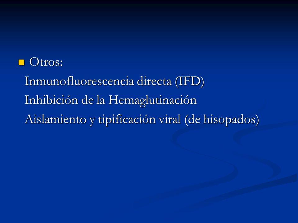Otros: Inmunofluorescencia directa (IFD) Inhibición de la Hemaglutinación.