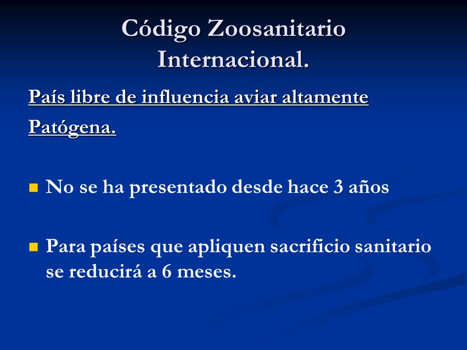 Código Zoosanitario Internacional.