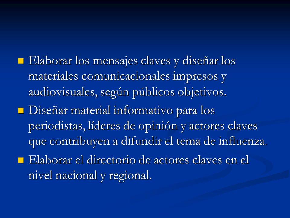 Elaborar los mensajes claves y diseñar los materiales comunicacionales impresos y audiovisuales, según públicos objetivos.