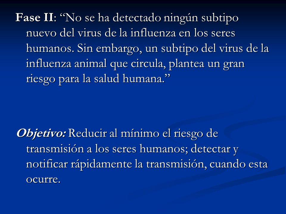 Fase II: No se ha detectado ningún subtipo nuevo del virus de la influenza en los seres humanos. Sin embargo, un subtipo del virus de la influenza animal que circula, plantea un gran riesgo para la salud humana.
