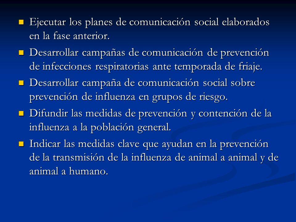 Ejecutar los planes de comunicación social elaborados en la fase anterior.