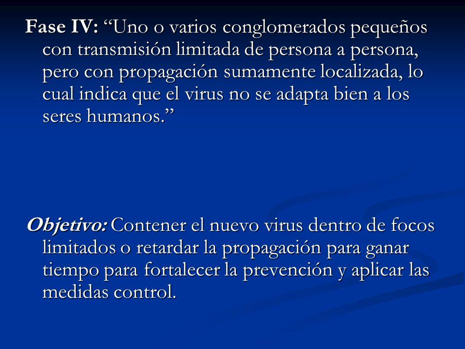 Fase IV: Uno o varios conglomerados pequeños con transmisión limitada de persona a persona, pero con propagación sumamente localizada, lo cual indica que el virus no se adapta bien a los seres humanos.