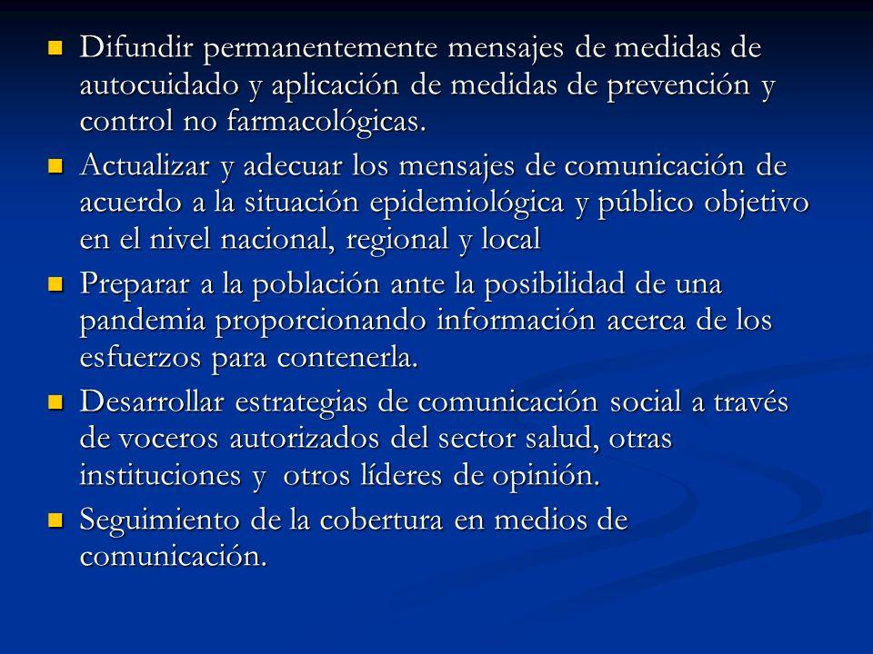 Difundir permanentemente mensajes de medidas de autocuidado y aplicación de medidas de prevención y control no farmacológicas.