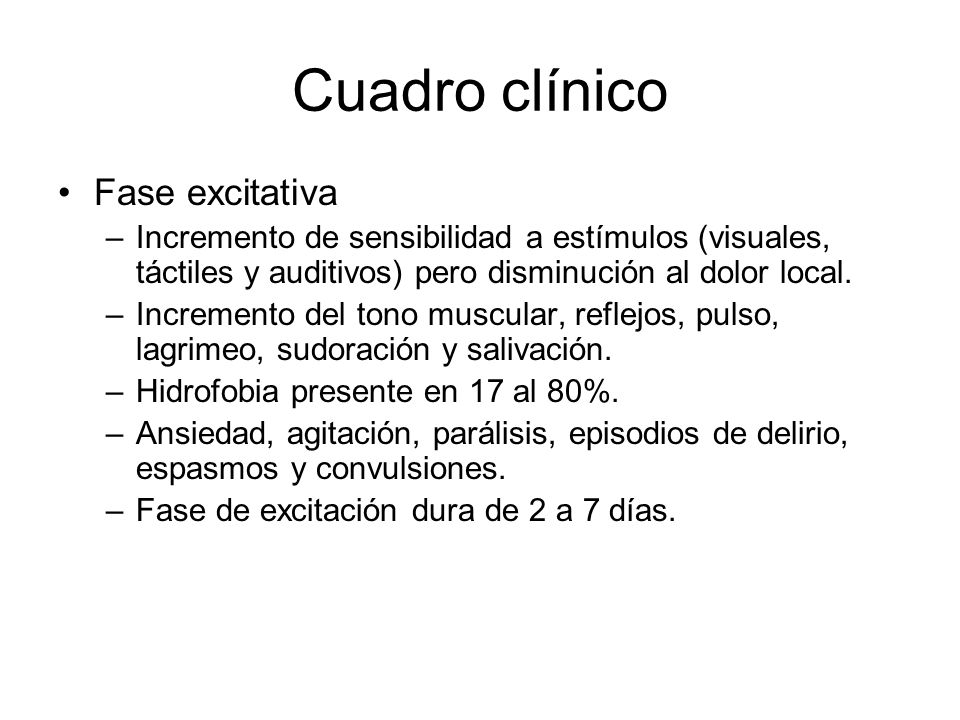 Cuadro clínico Fase excitativa