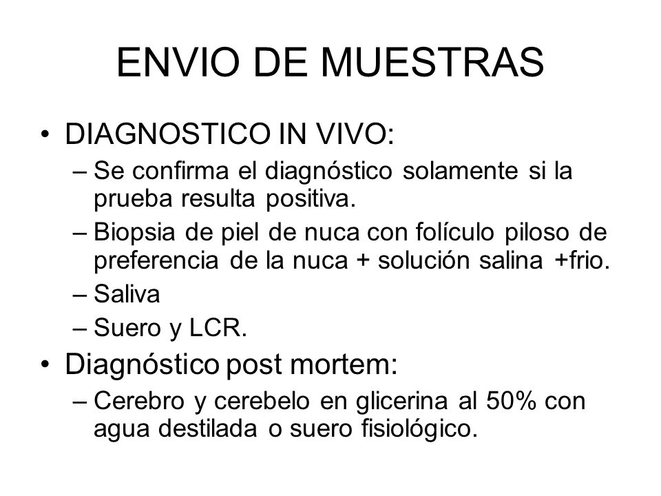 ENVIO DE MUESTRAS DIAGNOSTICO IN VIVO: Diagnóstico post mortem: