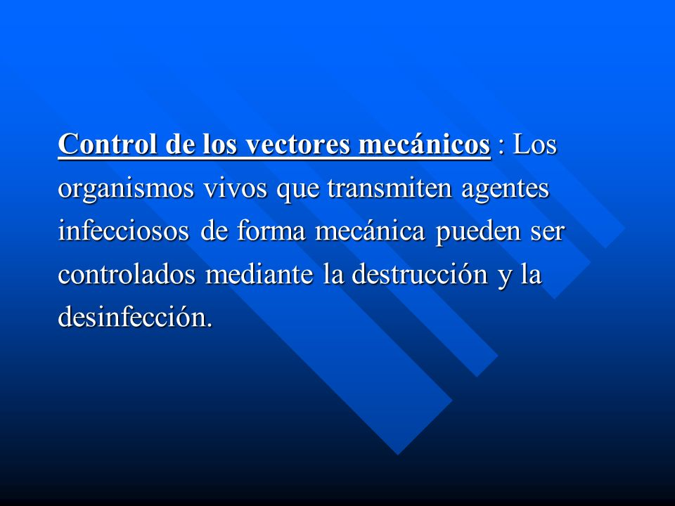 Control de los vectores mecánicos : Los