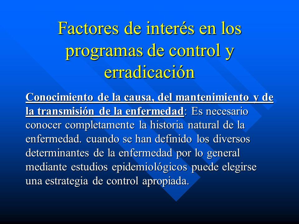 Factores de interés en los programas de control y erradicación