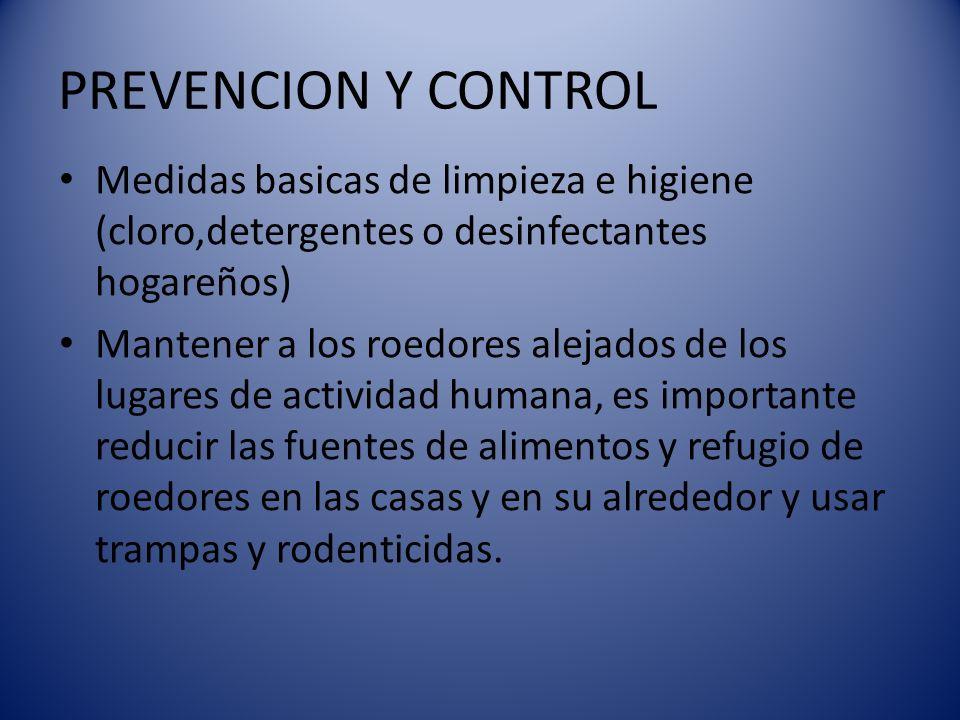 PREVENCION Y CONTROL Medidas basicas de limpieza e higiene (cloro,detergentes o desinfectantes hogareños)