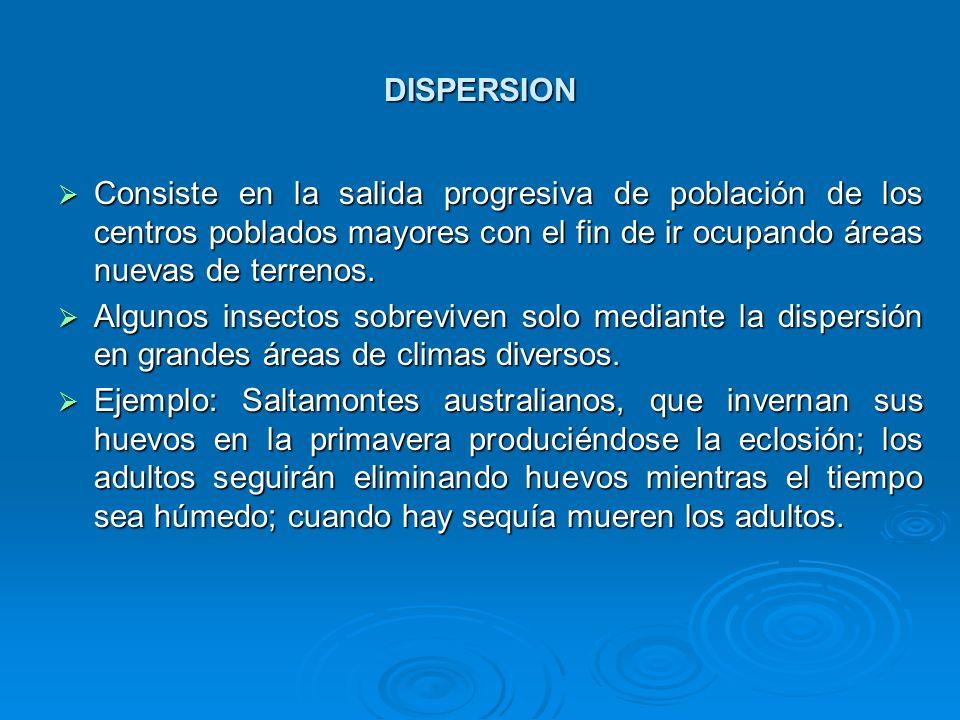 DISPERSIONConsiste en la salida progresiva de población de los centros poblados mayores con el fin de ir ocupando áreas nuevas de terrenos.