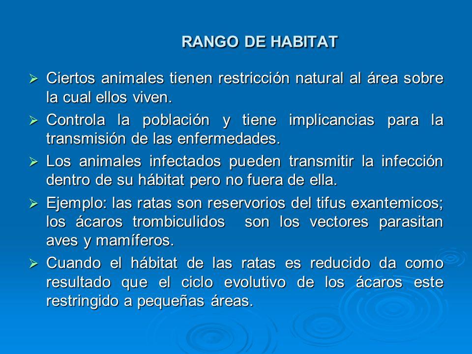 RANGO DE HABITATCiertos animales tienen restricción natural al área sobre la cual ellos viven.