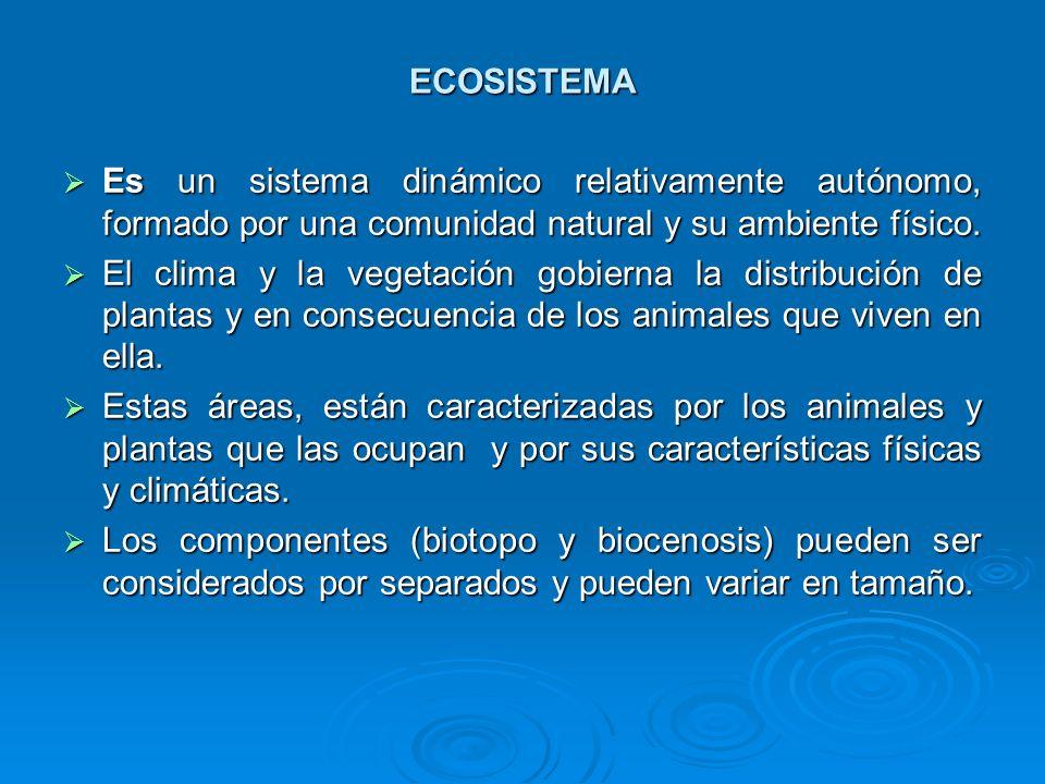 ECOSISTEMA Es un sistema dinámico relativamente autónomo, formado por una comunidad natural y su ambiente físico.