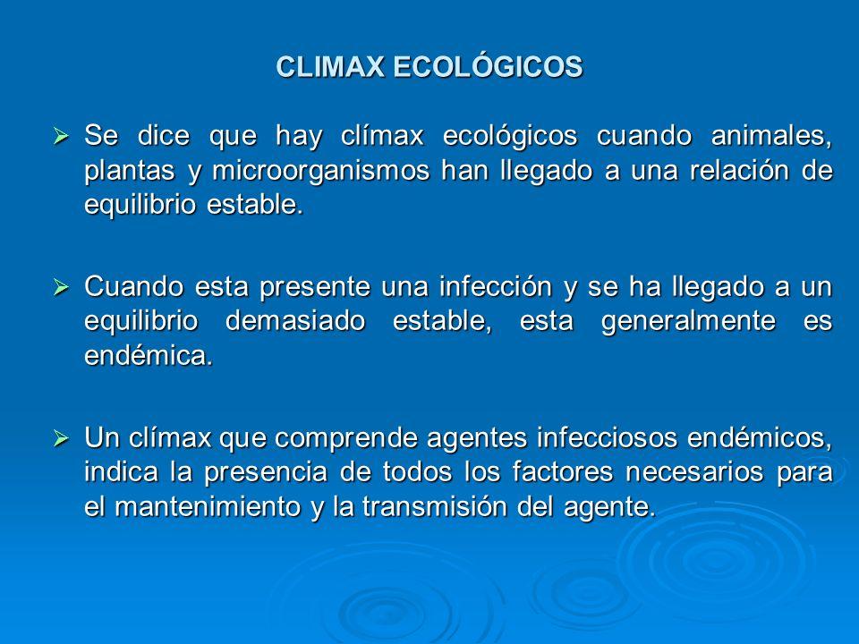 CLIMAX ECOLÓGICOS Se dice que hay clímax ecológicos cuando animales, plantas y microorganismos han llegado a una relación de equilibrio estable.