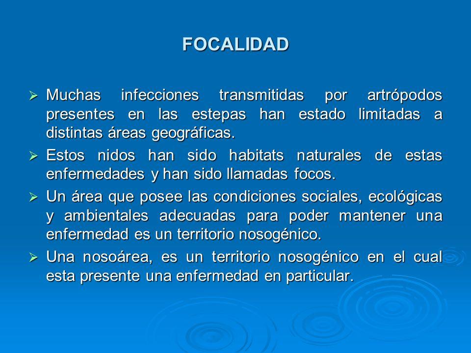 FOCALIDAD Muchas infecciones transmitidas por artrópodos presentes en las estepas han estado limitadas a distintas áreas geográficas.