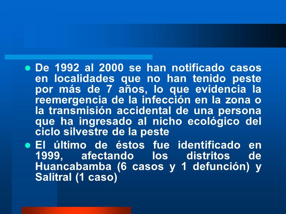 De 1992 al 2000 se han notificado casos en localidades que no han tenido peste por más de 7 años, lo que evidencia la reemergencia de la infección en la zona o la transmisión accidental de una persona que ha ingresado al nicho ecológico del ciclo silvestre de la peste