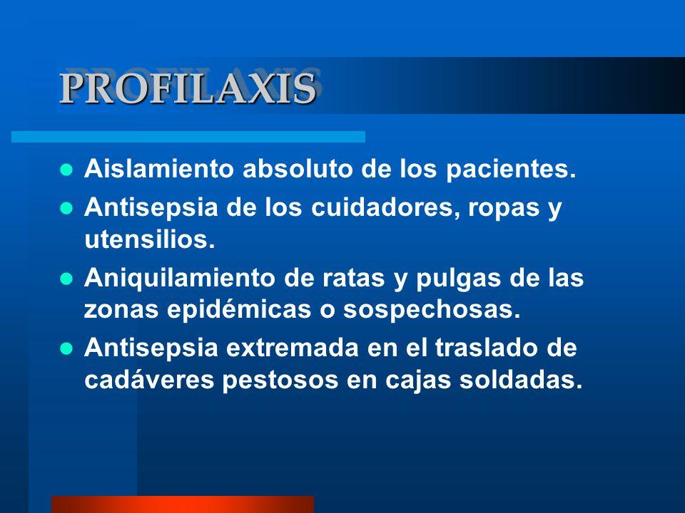 PROFILAXIS Aislamiento absoluto de los pacientes.