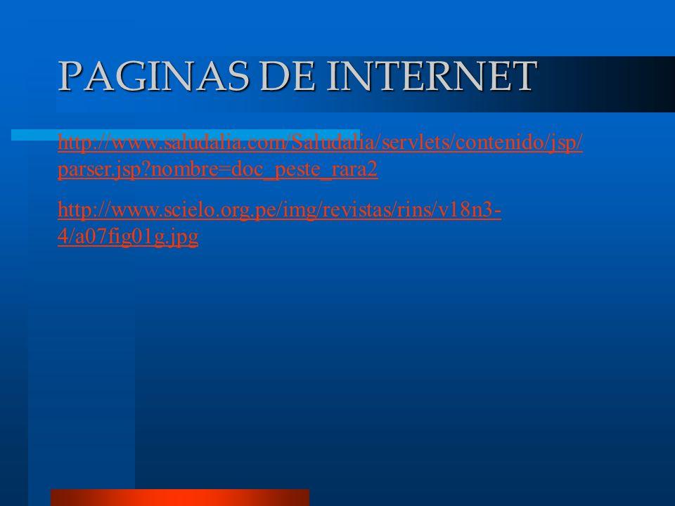 PAGINAS DE INTERNET http://www.saludalia.com/Saludalia/servlets/contenido/jsp/parser.jsp nombre=doc_peste_rara2.