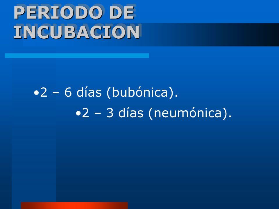 PERIODO DE INCUBACION 2 – 6 días (bubónica). 2 – 3 días (neumónica).