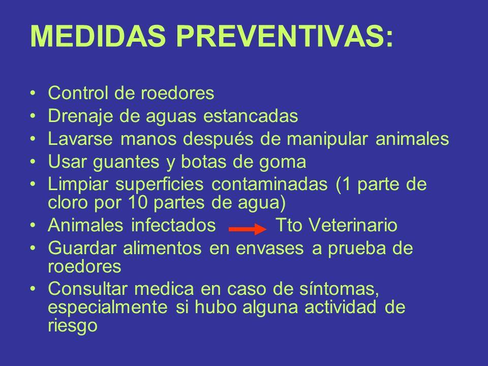 MEDIDAS PREVENTIVAS: Control de roedores Drenaje de aguas estancadas