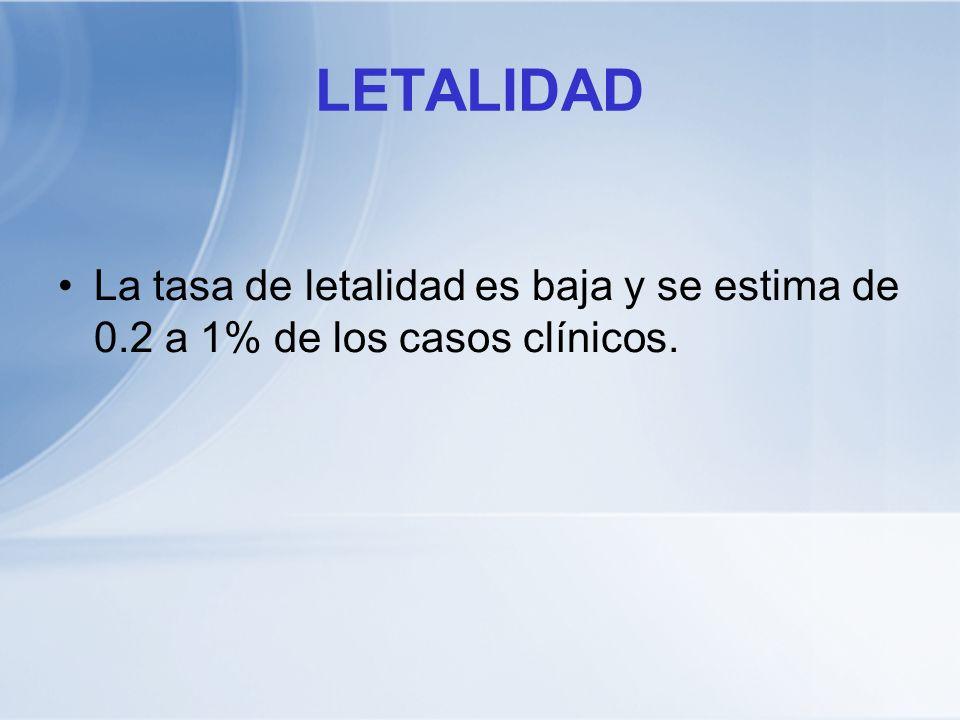 LETALIDAD La tasa de letalidad es baja y se estima de 0.2 a 1% de los casos clínicos.