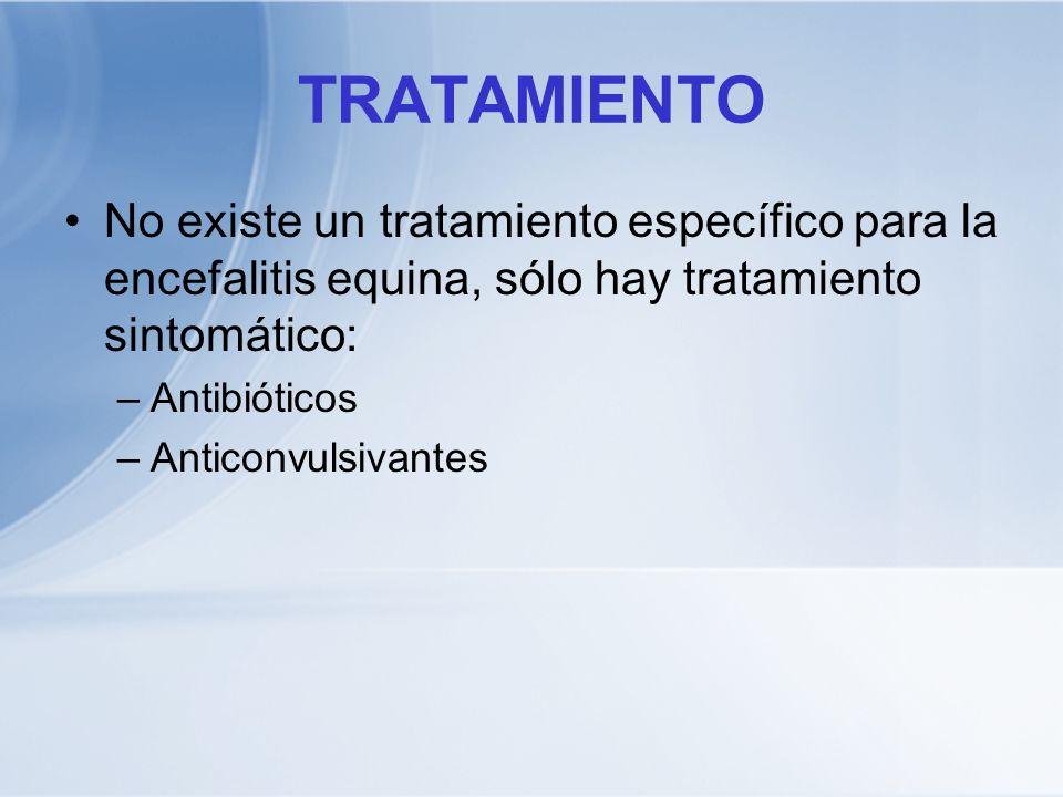 TRATAMIENTO No existe un tratamiento específico para la encefalitis equina, sólo hay tratamiento sintomático: