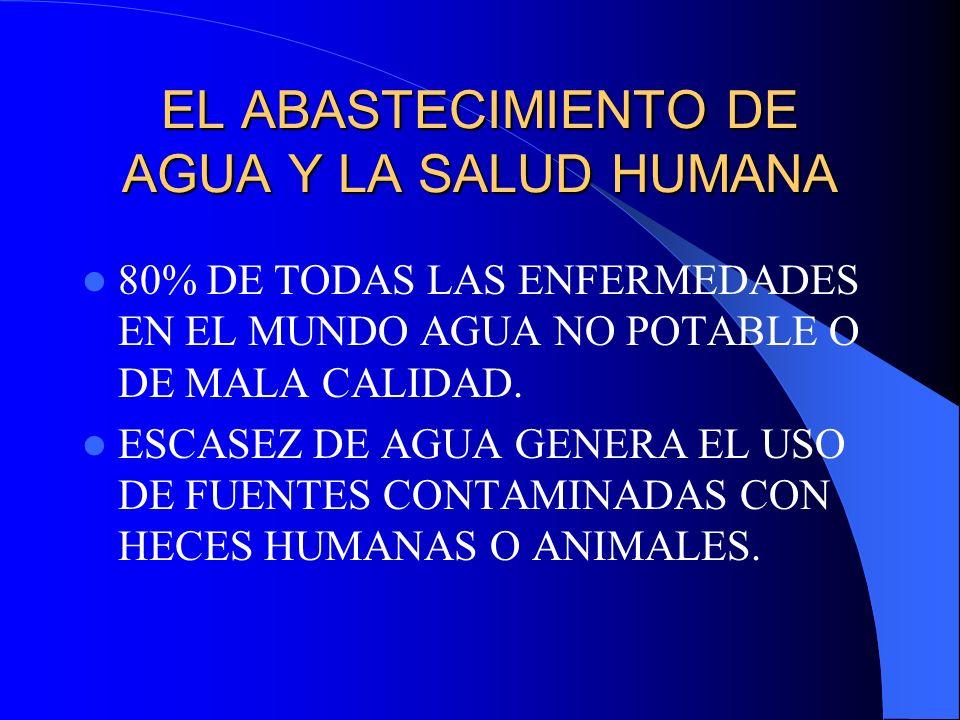 EL ABASTECIMIENTO DE AGUA Y LA SALUD HUMANA