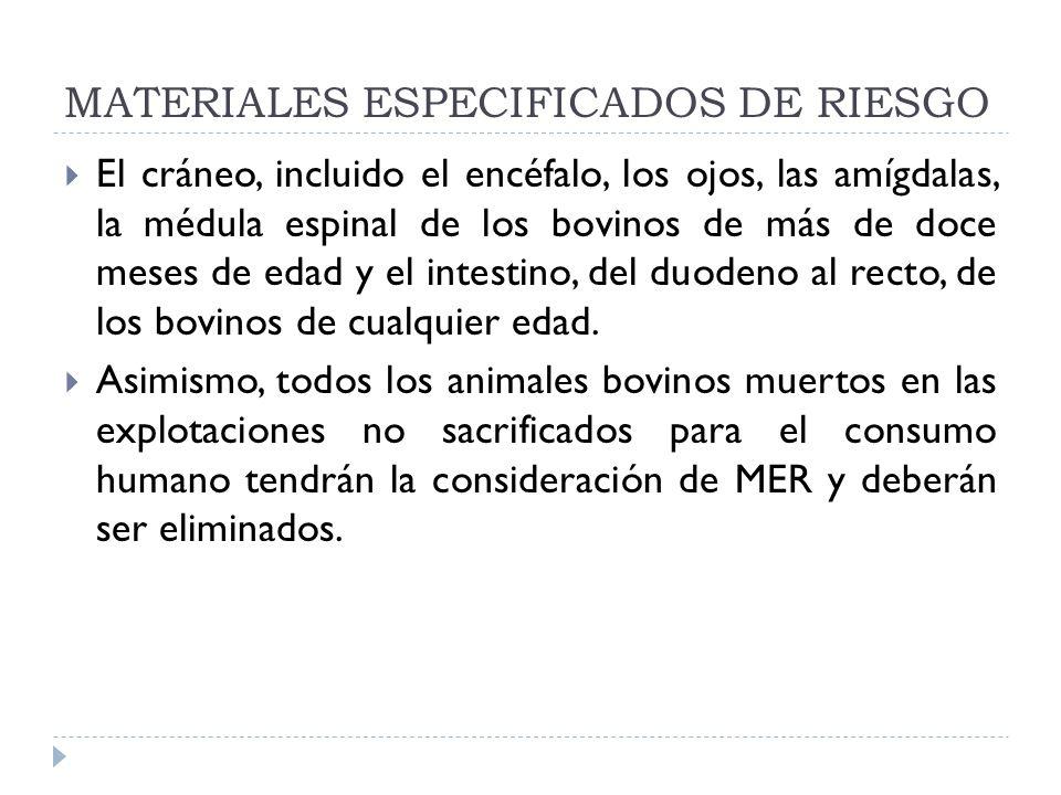 MATERIALES ESPECIFICADOS DE RIESGO