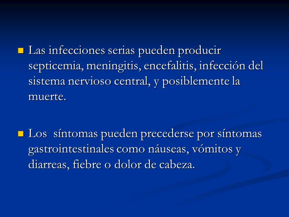 Las infecciones serias pueden producir septicemia, meningitis, encefalitis, infección del sistema nervioso central, y posiblemente la muerte.