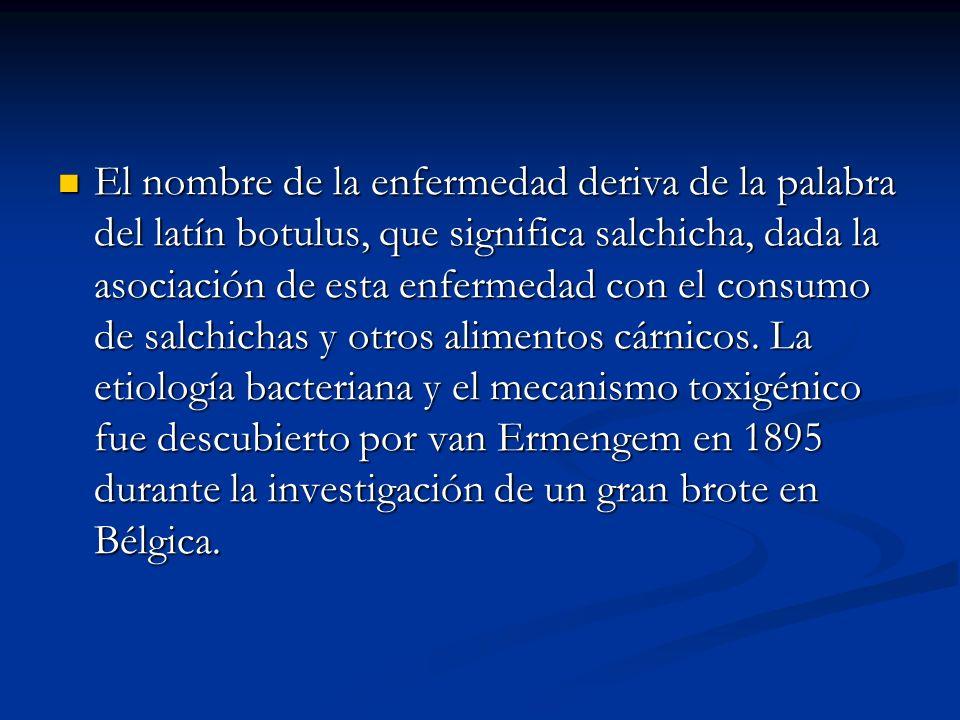 El nombre de la enfermedad deriva de la palabra del latín botulus, que significa salchicha, dada la asociación de esta enfermedad con el consumo de salchichas y otros alimentos cárnicos.