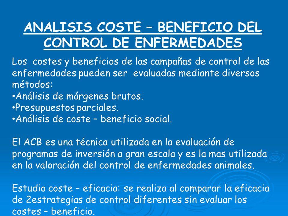 ANALISIS COSTE – BENEFICIO DEL CONTROL DE ENFERMEDADES