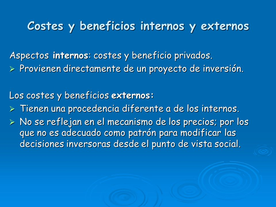 Costes y beneficios internos y externos