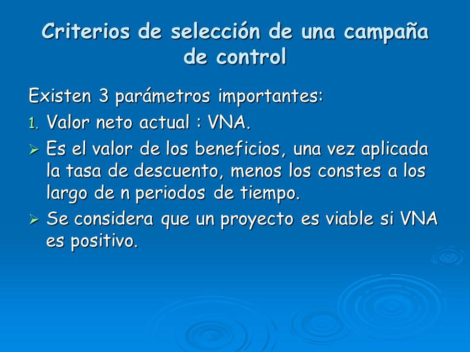 Criterios de selección de una campaña de control