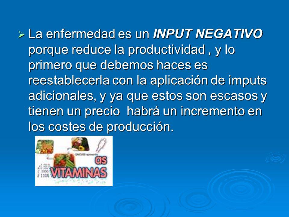 La enfermedad es un INPUT NEGATIVO porque reduce la productividad , y lo primero que debemos haces es reestablecerla con la aplicación de imputs adicionales, y ya que estos son escasos y tienen un precio habrá un incremento en los costes de producción.