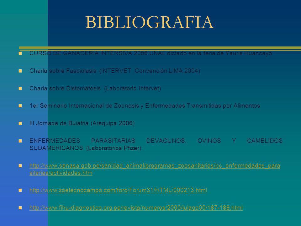 BIBLIOGRAFIA CURSO DE GANADERIA INTENSIVA 2006 UNAL dictado en la feria de Yauris Huancayo.