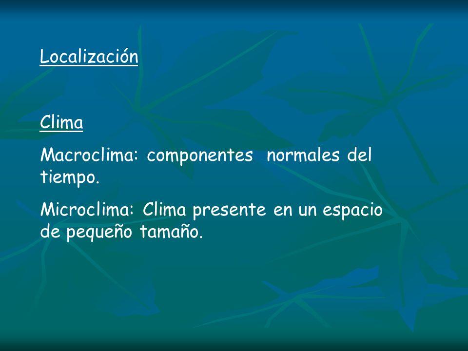 Localización Clima. Macroclima: componentes normales del tiempo.