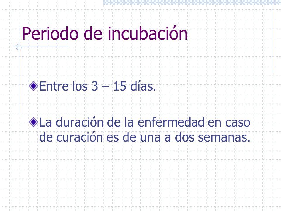 Periodo de incubación Entre los 3 – 15 días.